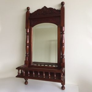 Solid Mahogany Wood Hand Carved Bevelled Shelf Wall Mirror