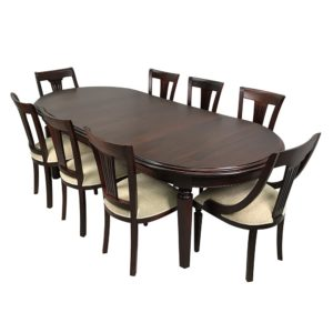 Solid Mahogany Wood Oval Extension Dining Set Table & 8 Chairs