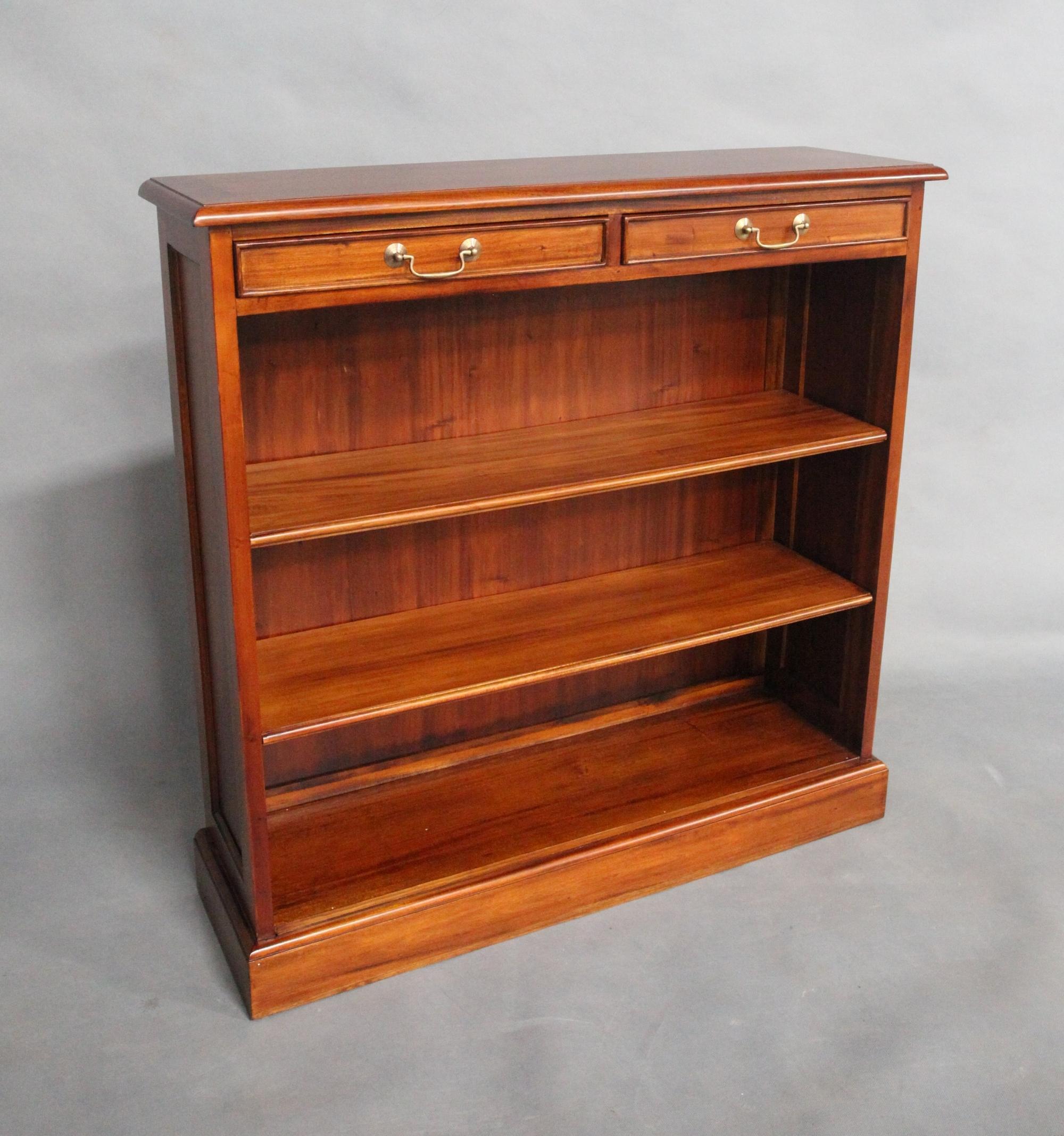 Solid Mahogany Wood 2 Drawers Low Bookshelf Pre Order