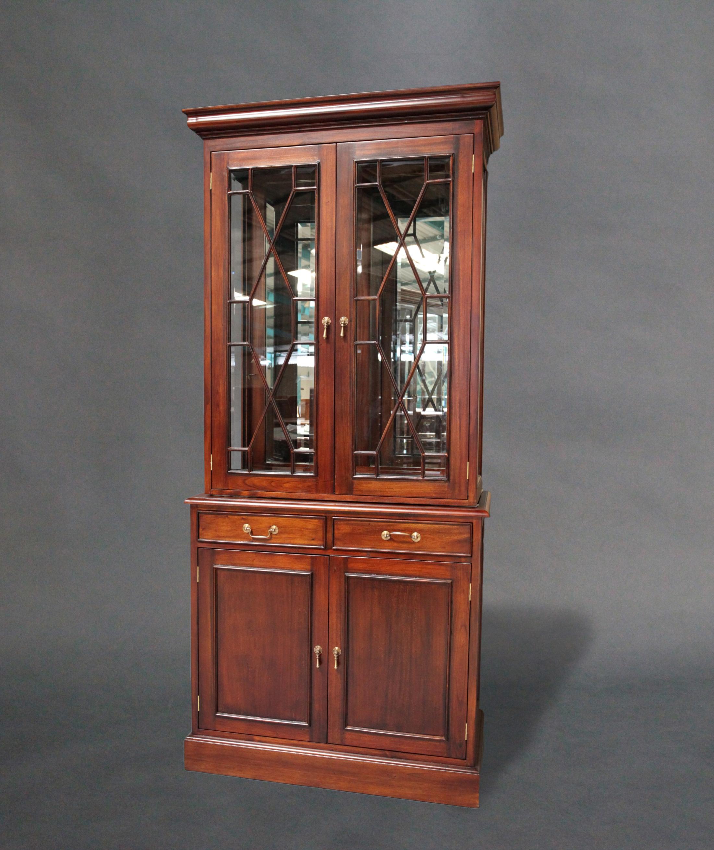 Solid Mahogany Timber 2 Doors Bookcase Display Cabinet