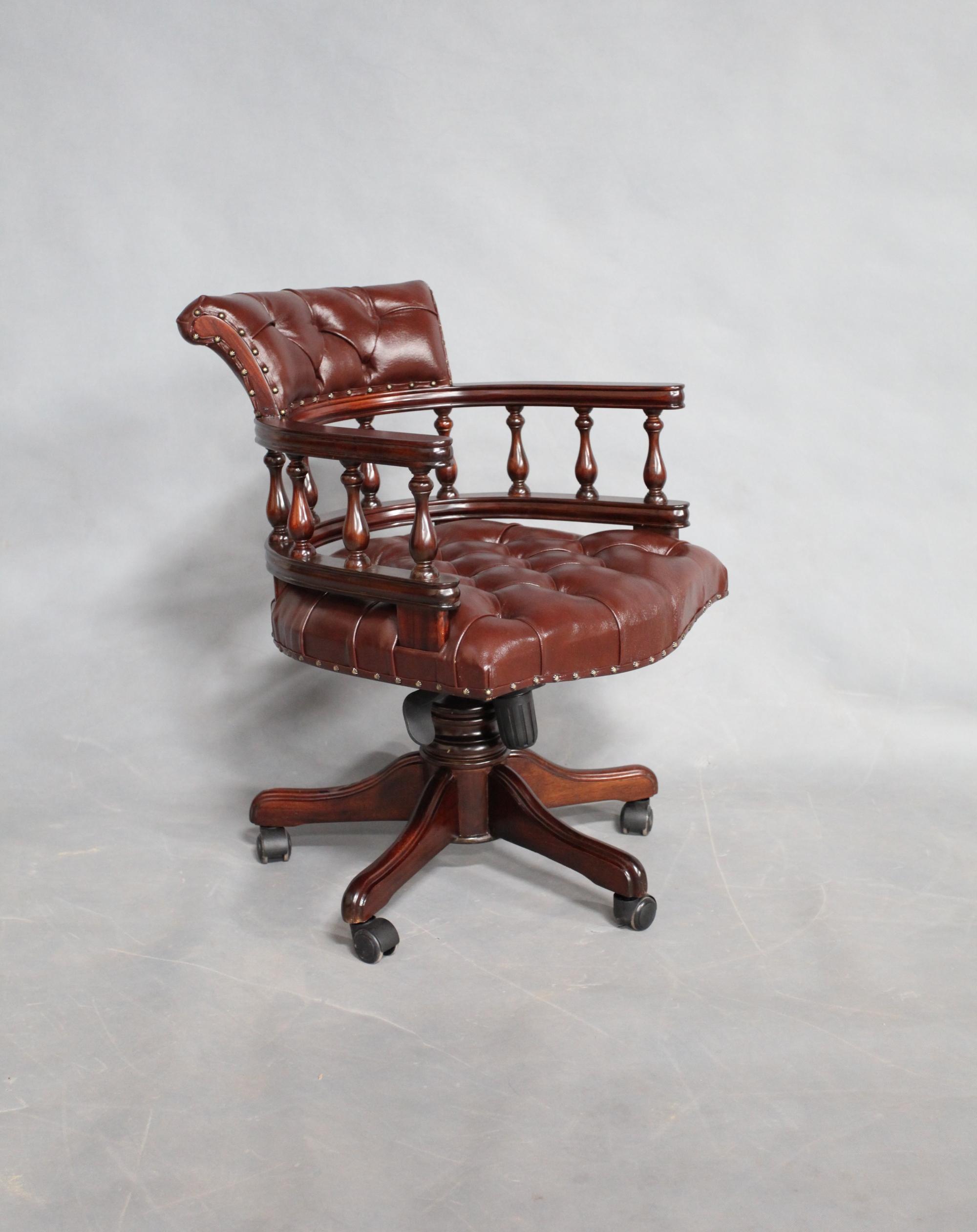 Sensational Solid Mahogany Wood Captains Swivel Office Chair Machost Co Dining Chair Design Ideas Machostcouk