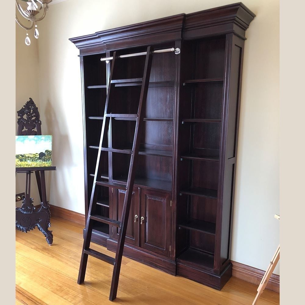 new concept 8666a 2c0cf Solid Mahogany Wood Large Bookshelf with Ladder
