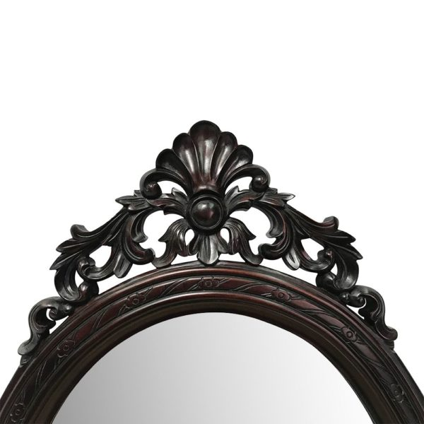 Placeholder Solid Mahogany Wood Hand Carved Bevelled Oval Wall Mirror 95x45cm