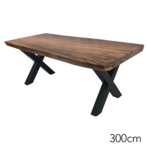 Solid Suar Wood Metal Legs Dining Table Rustic Style – 300cm
