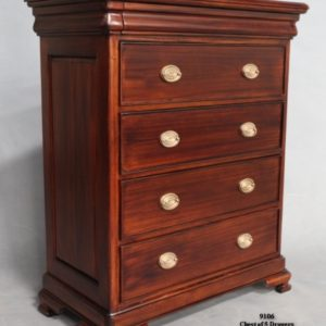 Mahogany Wood Chest of Drawers Long and Slim Design