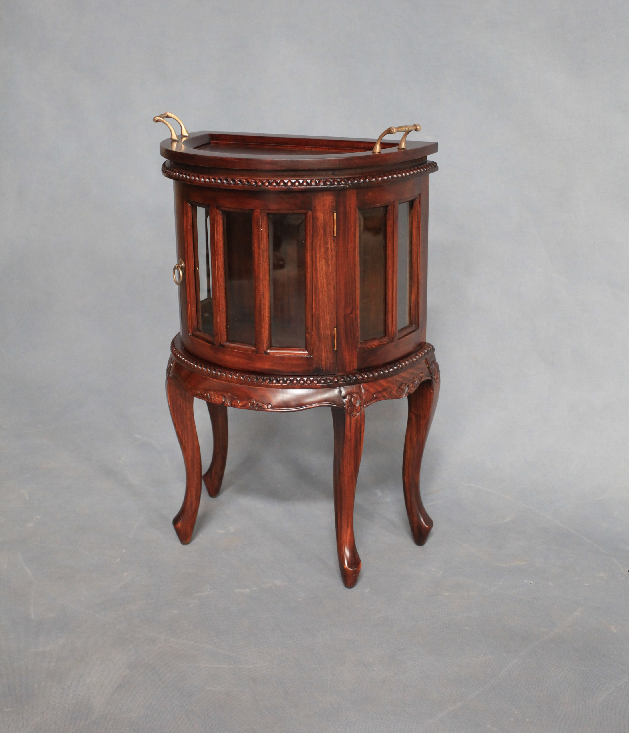 Solid Mahogany Wood Half Round Tea Table With Glass